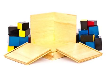 for children toys: Wooden toys for children on white background