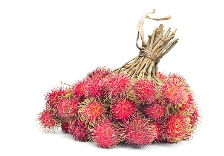 Bunch of rambutan on white background photo
