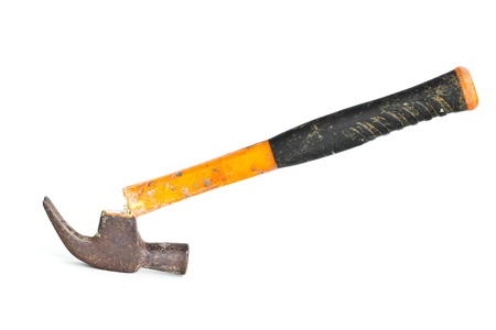 Old hammer and a broken handle on a white background