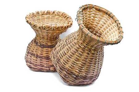 Woven bamboo container on a white background Stock Photo - 21891739