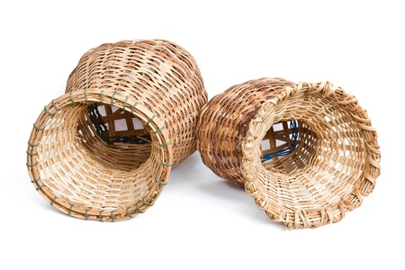 Woven bamboo container on a white background Stock Photo - 21891741