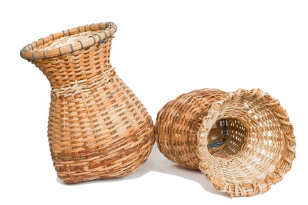 Woven bamboo container on a white background Stock Photo - 21891740