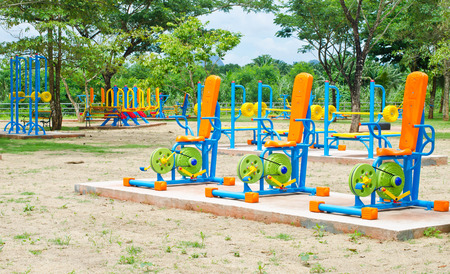 Colorful of outdoor fitness equipment