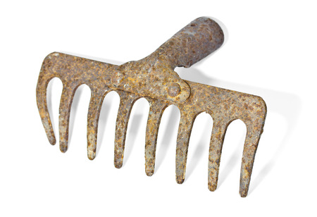 Old garden rake on white background
