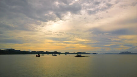 fisheries: Fisheries in the Andaman Sea at sunset in Phuket, Thailand  Stock Photo
