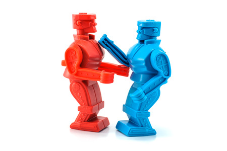 alien robot: two robots toy fighting Stock Photo