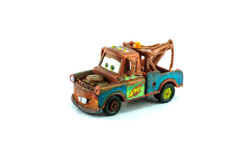Bangkok,THAILAND - March 29, 2014:A studio shot of the Character Tow Mater. Race Team Mater charecter of the cars movie from disney pixar. product by matle diecast cars collection.
