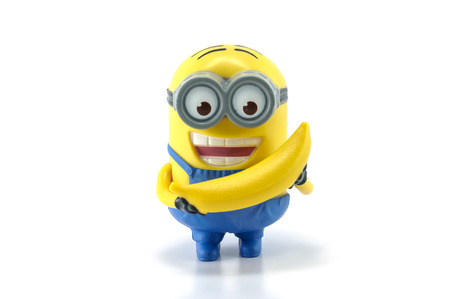 Bangkok,THAILAND - March 30, 2014: Minion Dave Banana Babbler  Mcdonalds happymeal toy. There are plastic toy sold as part of the McDonalds Happy meals.