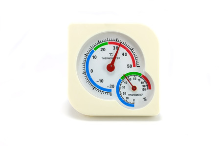 Thermometer and Hygrometer device  isolated on white Stock Photo