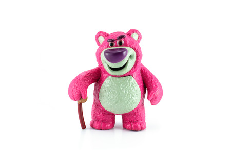 disney: Bangkok,THAILAND - April 9, 2014: Lotso is a purple teddy bear with a big plum nouse character figure toy from toy story movie.