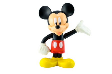 Bangkok,THAILAND - April 9, 2014: Mickey mouse from Disney character. There are plastic toy sold as part of the McDonald's Happy meals. 報道画像