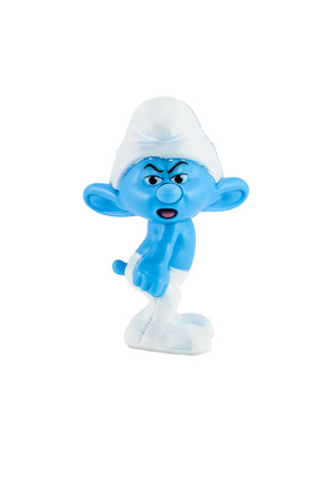 Bangkok,THAILAND - March 24, 2014: Grouchy Smurf character from the Smurf 2.There are plastic toy sold as part of the McDonalds Happy meals. Editorial