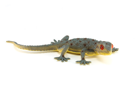 detestable: gecko toy isolated on white