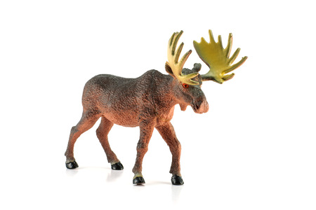 moose hunting: Moose toy isolated on white Stock Photo
