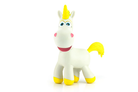 toy story: Bangkok,Thailand - May 01,2014: Buttercup is a white unicorn with a golden horn. Character in Toy Story 3 and Toy Story Toons.