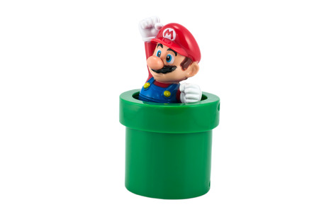 nintendo: Bangkok,Thailand - May 01,2014: Marios embosser. There are plastic toy sold as part of the McDonalds Happy meals.