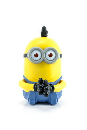 Bangkok,Thailand - April 29, 2014  Minion Kevin from Despicable Me 2 movie  There are plastic toy sold as part of the McDonald