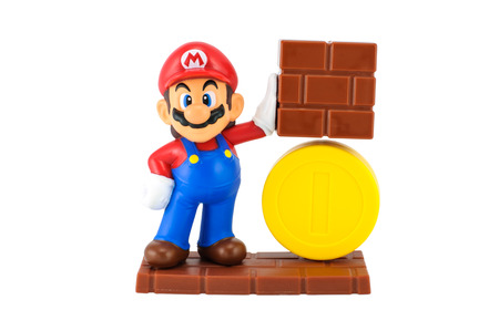 Bangkok,Thailand - May 13 2014  Super Mario with gold coin  There are plastic toy sold as part of the McDonald