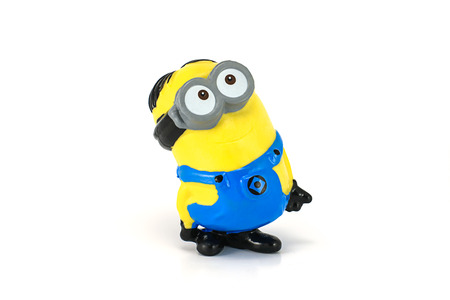 Bangkok,THAILAND - May 22, 2014 : Minion tom see the sky figue toy.There are plastic toy sold as part of HUNGRY JACKS toys.