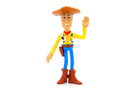 BANGKOK, THAILAND - June 22, 2014 : Wood toy character from Disney Toy Story animation. There are toy sold as part of McDonalds Happy meal.