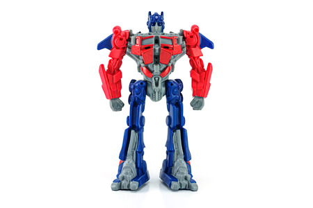 BANGKOK, THAILAND - June 11, 2014 : Optimus Prime toy character from TRANSFORMERS Movie. There are toy sold as part of McDonalds Happy meal.