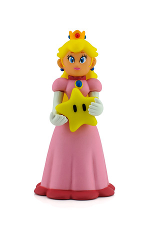 nintendo: Bangkok, Thailand - August 25, 2014 : The princesses figure character from Super Mario video game console developed by Nintendo EAD.