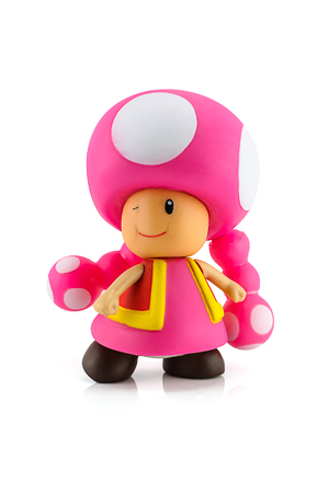 mario: Bangkok, Thailand - August 25, 2014 : Toadette figure character from Super Mario video game console developed by Nintendo EAD. Editorial