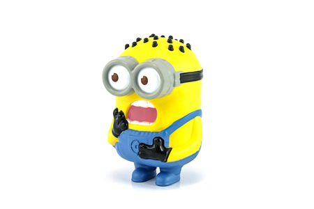 Bangkok,Thailand - April 22, 2014: Minion  Tom Babbler figure Toy. There are plastic toy sold as part of the McDonalds Happy meals.