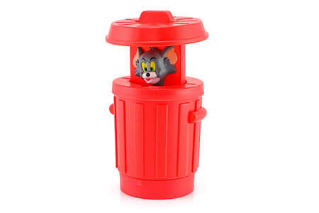 Bangkok, Thailand - August 31, 2014 : tom in a red bin  toy character American animated series. There are toy sold as part of McDonald Happy Meal toy.