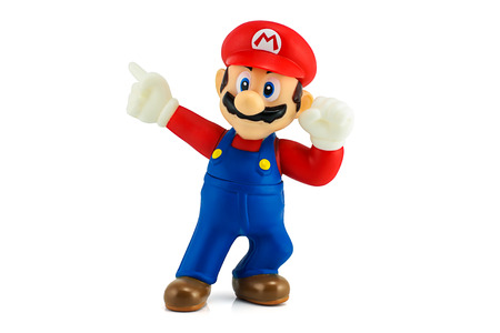 nintendo: Bangkok, Thailand - August 11, 2014 : Super Mario Bros figure character from Super Mario video game console developed by Nintendo EAD.