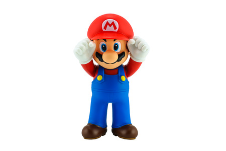 ead: Bangkok, Thailand - August 11, 2014 : Super Mario Bros figure character from Super Mario video game console developed by Nintendo EAD.