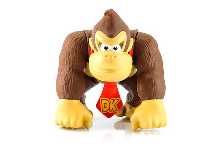 ead: Bangkok, Thailand - August 11, 2014 : Donkey Kong figure character from Super Mario video game console developed by Nintendo EAD.