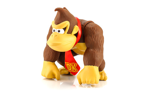 Bangkok, Thailand - August 11, 2014 : Donkey Kong figure character from Super Mario video game console developed by Nintendo EAD.