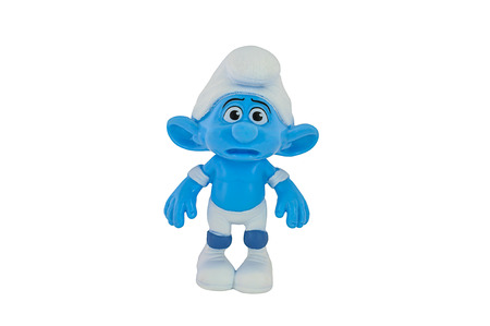 panicky: BANGKOK, THAILAND - June 30, 2014 : Panicky Smurf wears both knee and elbow pads character toy from The Smurf movie.  There are plastic toy sold as part of the McDonald Editorial