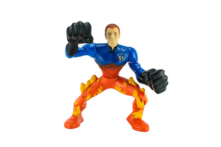strom: BANGKOK, THAILAND - July 16, 2014 : Johnny Strom super hero toy character from fantastic four movie. There are toy sold as part of Burger King toy. Editorial