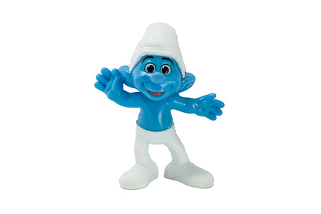 BANGKOK, THAILAND July 3, 2014 : Waving Smurf character from The Smurf movie.  There are plastic toy sold as part of the McDonald