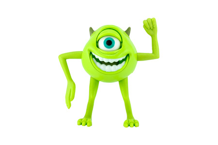monster movie: Bangkok,Thailand - May 05 ,2014: Mike  Monter inc character toy. There are plastic toy sold as part of the McDonald Editorial