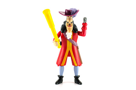 pirate crew: BANGKOK, THAILAND - June 22, 2014 : Captain Hook toy character from disney Peter Pan animation. There are toy sold as part of McDonald