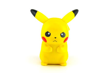 BANGKOK, THAILAND - June 28, 2014 : Pickachu toy character from Pokemon anime. There are toy sold as part of McDonald HappyMeal toy. 報道画像