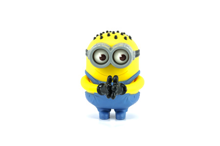 grabber: Bangkok,Thailand - April 22, 2014: Minion Tom Googly Eyes Grabber Mcdonalds happymeal toy. There are plastic toy sold as part of the McDonald