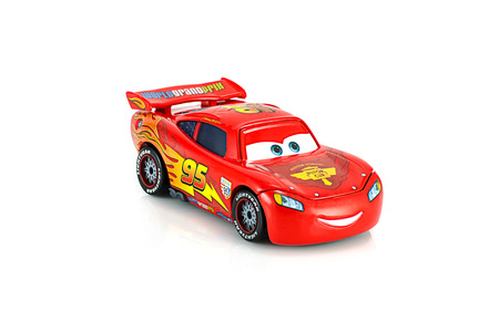 Bangkok,Thailand - November 10, 2014: Lightning McQueen main protagonist of the Disney Pixar feature film Cars. A diecast cars collcetion from mattel inc.