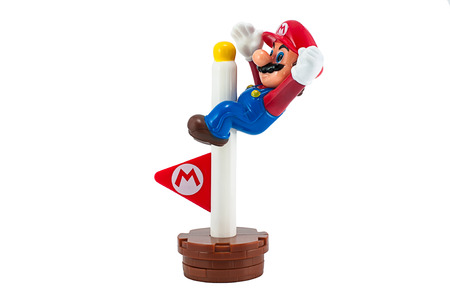 mario: Bangkok,Thailand - May 01,2014: Mario with goal pole . There are plastic toy sold as part of the McDonalds Happy meals. Editorial