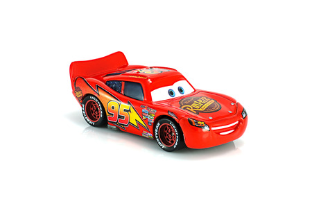 disney cartoon: Bangkok,Thailand - November 10, 2014: Lightning McQueen main protagonist of the Disney Pixar feature film Cars. A diecast cars collcetion from mattel inc.