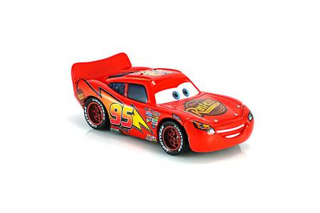 lightning speed: Bangkok,Thailand - November 10, 2014: Lightning McQueen main protagonist of the Disney Pixar feature film Cars. A diecast cars collcetion from mattel inc.