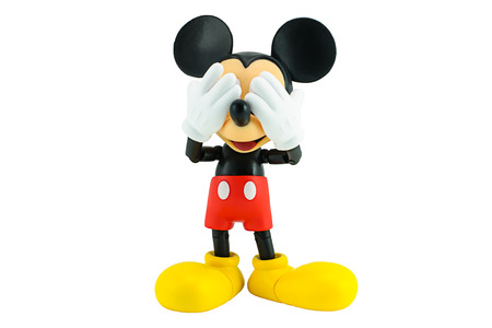 white mouse: Bangkok,Thailand - January 5, 2015: Mickey  mouse action figure from Disney character. This character from Mickey mouse and friend animation series. Editorial