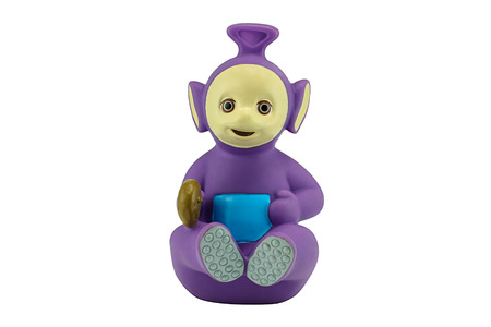 animation teenagers: Bangkok, Thailand - December 12, 2014: Tinky Winky the purple alien Teletubbies character from Teletubbies a British BBC childrens television series.