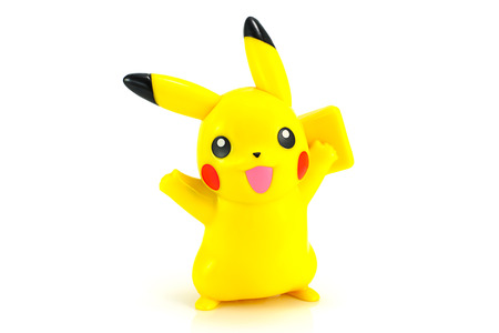 Bangkok,Thailand - October 30, 2014: Pickachu toy character from Pokemon anime. There are toy sold as part of McDonald HappyMeal toy. 報道画像