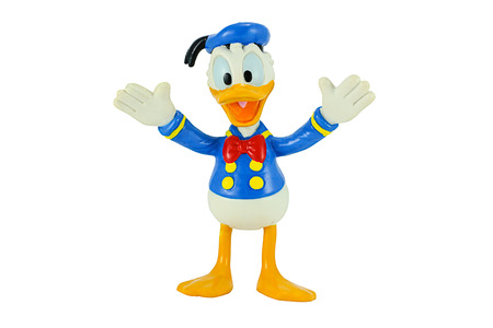 donald: Bangkok, Thailand - November 4, 2014: Donald Duck from Mickey mouse and friends cartoon animation. This palstic toy figure from Disnay animation store.