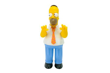 familia animada: Bangkok, Tailandia - 03 de junio 2014: Homer Simpson car�cter figura de juguete de la familia Simpson. Los Simpson es una serie estadounidense de animaci�n. Editorial