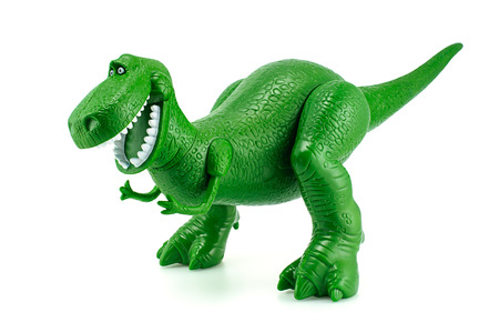 toy story: Bangkok, Thailand - December 12, 2014: Rex the green dinosaur toy character from Toy Story animation films by Disney Pixar studio.